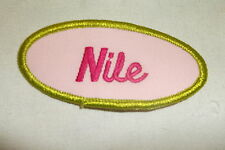 NILE  USED EMBROIDERED  SEW ON NAME PATCH TAGS OVAL OLIVE WITH PINK ON PINK