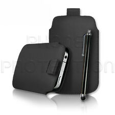 PU LEATHER PULL TAB CASE COVER POUCH SLEEVE & STYLUS FOR VARIOUS MOBILE PHONES