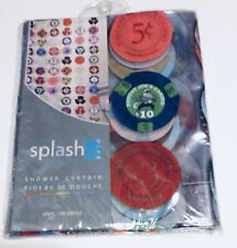 Shower Curtain Poker Chips Man Cave Clear Vinyl Casino Game Room Bath