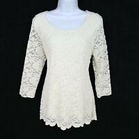 Christopher & Banks Top Shirt Womens Sz L White Floral Polyester Spandex Blend