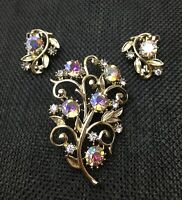 Vintage AB Rhinestone Flower Brooch with Clip On Earrings Floral Jewelry