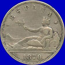1870 Spain 2 Pesetas DE-M *18*75 Coin ( 10 Grams .835 Silver )