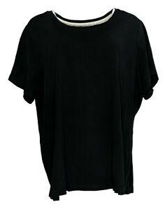 Isaac Mizrahi Live! Women's Plus Sz 3X Cotton Scoop Neck T-Shirt Black A379429
