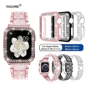 Diamond Bling Case Cover iWatch Band Strap For Apple Watch Series 654321 40/44mm