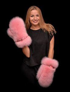 Genuine Saga Furs Flamingo Pink Arctic Shadow Fox Fur Handmade Mittens Gloves