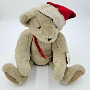 "Vermont Teddy Bear Co Jointed Plush Gray  20"" Christmas Santa Hat Vintage 1992"