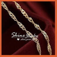 18K GOLD GF SINGAPORE CURB RING CHAIN for pendant SOLID MENS WOMENS NECKLACE NEW
