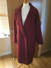M&S Collection Wool Mix Coat Uk 20 Claret Single Button Coat BNWTS 7188