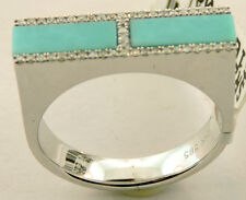 14K WHITE GOLD TURQUOISE DIAMOND RING SIZE 6 1/2