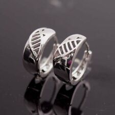 18k White Gold Filled Earrings 15mm Leaf Carved Hoop GF Charm Wedding Jewelry