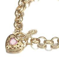 18K Yellow Gold GL Women's Solid CHUNKY Belcher Bracelet & Pink Filigree Heart