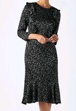 Monsoon Starina Black Jacquard Satin Star Midi Dress Size 16 Bnwt