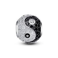 Yin & Yang Perlen mit Strass Charm 100% 925 Sterling Silber Pandora