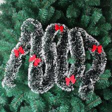 Christmas Tree Ornament Decor Dark Green Tops White Edge Ribbon Garland New Year