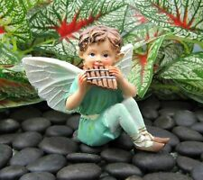 Miniature Fairy Garden Turquoise Fairy Playing Pan Flute - Buy 3 Save $5