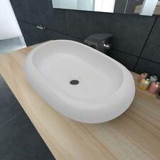 Lavabo de cerámica ovalado colores blanco y negro