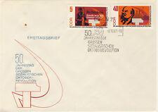 Ersttagsbrief DDR MiNr. 1312 A, 1316 A, 50. Jahrestag der Großen Sozialistischen