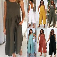 US Women Sleeveless Long Jumpsuit Casual Clubwear Wide Leg Pants Outfit Rompers