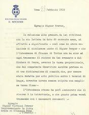 Lettera Autografo Presidente del Consiglio Mussolini Luigi Facta Pinerolo 1912