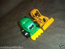 LOT OF 2 JOHN DEERE ERTL PLASTIC FARM TRACTOR AND METAL BULLDOZER TOYS