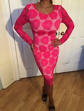 Long Sleeve Stretch Lace Neon Pink Midi Bodycon Sheath Dress w/ floral design S