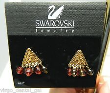 NOS SWAROVSKI Signed Gold Tone Topaz & Orange Crystal Dangle Clip Earrings