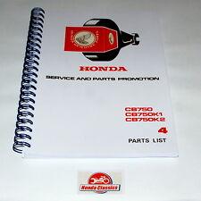 Honda Parts List Book CB750 K0 K1 K2 SOHC Four 750/4 1970s, Reproduction. HPL002