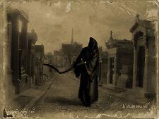 A4 Vintage Estilo Poster-Grim Reaper caminando por las calles (Gótico Imagen Muerte)
