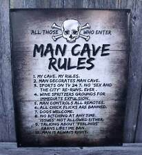Sign Man Cave Rules All Those Who Enter My Cave My Rules Metal New 12x15 Inches