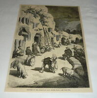 1879 magazine engraving ~ SCENE IN GROTTOES OF THE GITANOS SACRO MONTE, SPAIN
