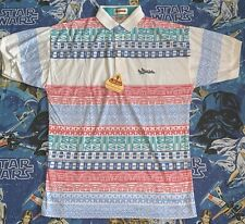 Men Vintage Antigua Polo Shirt Single Stitch Rare Nwt 90's All Over Print