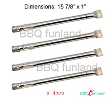 4-pack Stainless Steel Burner Replacement for BBQ Gas Grill Charmglow, Brinkman