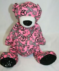 """Ganz Justice Heart Peace Sign Be Happy Plush Pink Black Bear 14"""" Stuffed Toy"""