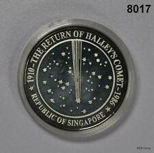 SINGAPORE 1986 OUNCE .999 SILVER HALLEY'S COMET LION PALM TREE IN CAPSULE! #8017