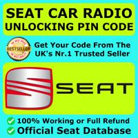 Código de desbloqueo de códigos de radio Seat Ibiza Leon Altea AlanaTodos los Modelos Rns /& RCD