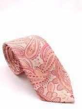 $100 Geoffrey Beene Mens Red Paisley Silk Tie Classic Skinny Necktie 58x3.25