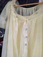 60's Vintage Radcliffe Lemon Yellow Chiffon Ivory Lace Nighty Peignoir Set M A+