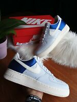 SIZE 8.5 MEN'S Nike AIR FORCE 1 07 QS AH8462 401 BLUE WHITE SNEAKERS