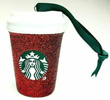 NEW Starbucks 2019 Red Glitter Cup Christmas Tree Holiday Ceramic Ornament