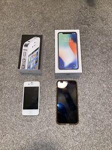 iPhone X 64gb Silver (unlocked) and Apple iPhone 4 8gb Verizon *read Description