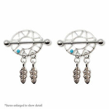 Dream Catcher Nipple Rings Shields 14g Surgical Steel Pair