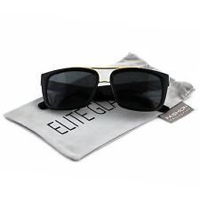 Oversized Square Aviator Gold Metal Bar Mens Womens Designer Fashion Sunglasses