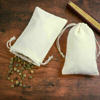 10x Small Bag Natural Linen Pouch Drawstring Burlap Jute Sack Jewelry Gift Bags