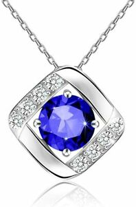 GORGEOUS 14k White Gold Plated Sapphire Pendant Necklace Women Chain Anniversary