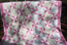 """Vintage Full Size Rose and White Pinwheel Patchwork Quilt, 77"""" x 93"""""""
