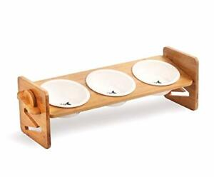 Raised Cat Dog Bowls with Stand Feeder, Elevated Bamboo Stand 3 Ceramics Bowls
