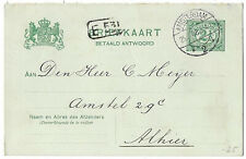 Netherlands 1908 Amsterdam 2 1/2c postal stationery reply card ps.38