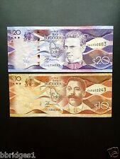 Barbados 10 and 20 Dollar Banknotes F-VF #12