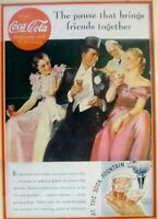 Vintage 1935 CocaCola Ad, The Pause That Brings Friends Together, Framed