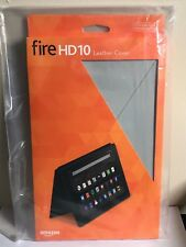 Amazon Fire HD 10 GREY Leather Cover Case Tablet 5th Generation Auto Wake USA